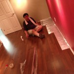 レコーディングブースの床材が貼り終わりました