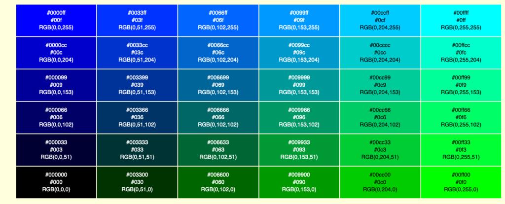 カラーチャートのサイトの例